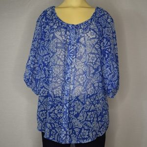 Cabi | Blue Half-Sleeve Abstract Pattern Blouse  S